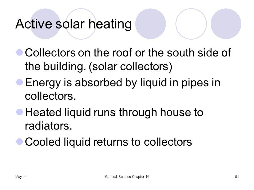 May-14General Science Chapter 1451 Active solar heating Collectors on the roof or the south side of the building. (solar collectors) Energy is absorbe