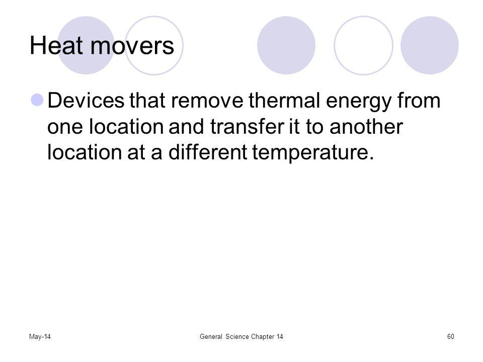 May-14General Science Chapter 1460 Heat movers Devices that remove thermal energy from one location and transfer it to another location at a different