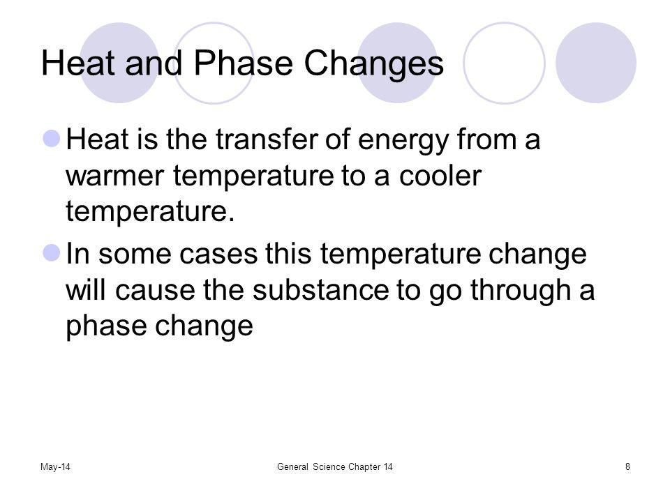 May-14General Science Chapter 148 Heat and Phase Changes Heat is the transfer of energy from a warmer temperature to a cooler temperature. In some cas