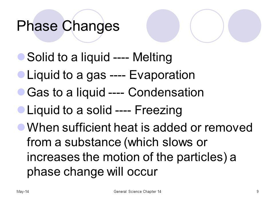 May-14General Science Chapter 1410 Phase Changes The temperature at which the phase occurs is called the melting point or freezing point, etc.