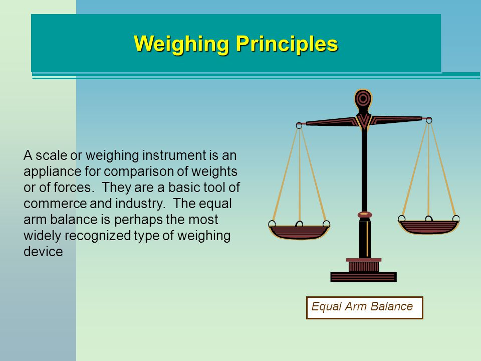 Weighing Principles The Roman Steelyard (200 BC), has been employed for centuries.