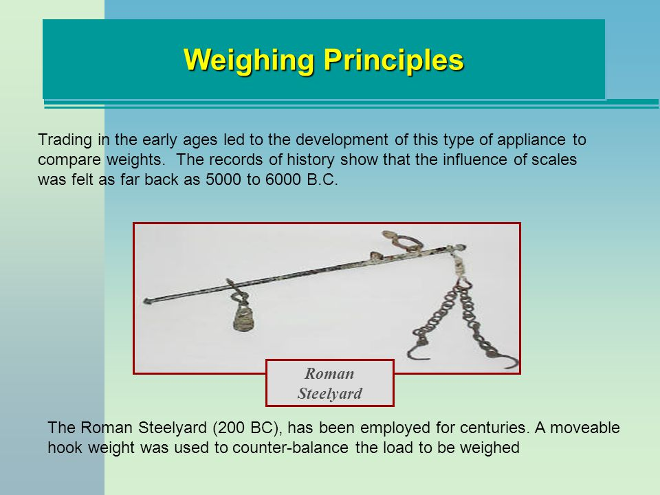Weighing Principles Attempts at placing the loads above the beam supported on a fulcrum from below were impractical until in 1669 a French mathematician named Roberval developed the Roberval balance It consisted of an even lever with the fulcrum supported in a stand