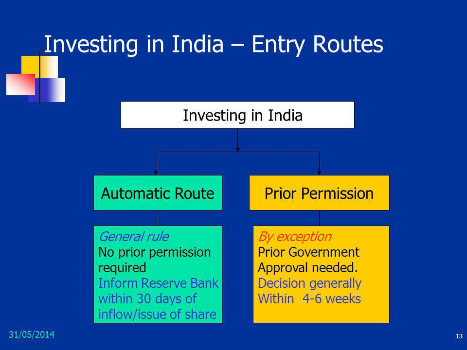 31/05/2014 13 Investing in India – Entry Routes Automatic RoutePrior Permission Investing in India General rule No prior permission required Inform Re