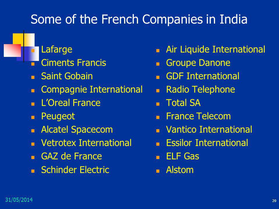 31/05/2014 20 Some of the French Companies in India Lafarge Ciments Francis Saint Gobain Compagnie International LOreal France Peugeot Alcatel Spaceco