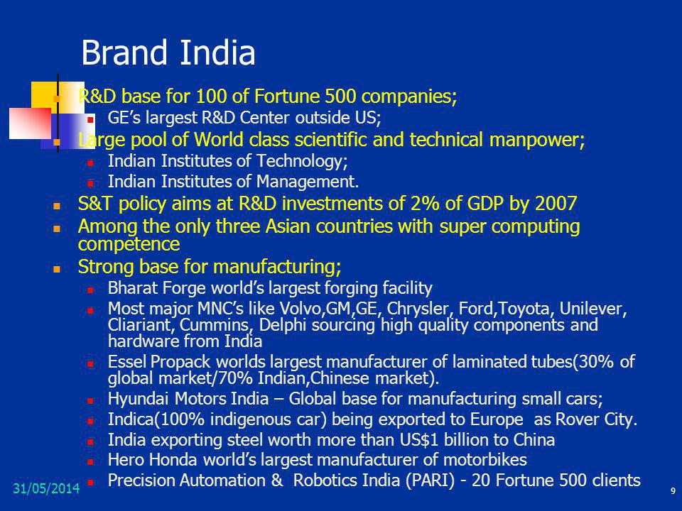 31/05/2014 9 Brand India R&D base for 100 of Fortune 500 companies; GEs largest R&D Center outside US; Large pool of World class scientific and techni
