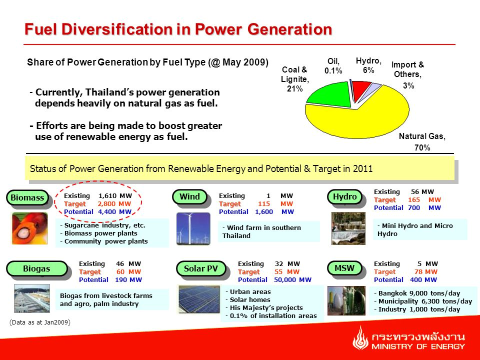 Status of Power Generation from Renewable Energy and Potential & Target in 2011 Fuel Diversification in Power Generation Existing 5 MW Target 78 MW Potential 400 MW Existing 1 MW Target Target 115 MW Potential 1,600 MW Existing 46 MW Target Target 60 MW Potential 190 MW Existing 32 MW Target Target 55 MW Potential 50,000 MW Existing 1,610 MW Target Target 2,800 MW Potential 4,400 MW Existing 56 MW Target Target 165 MW Potential 700 MW Biomass Wind Biogas Hydro Solar PV MSW (Data as at Jan2009) - Wind farm in southern Thailand - Sugarcane industry, etc.