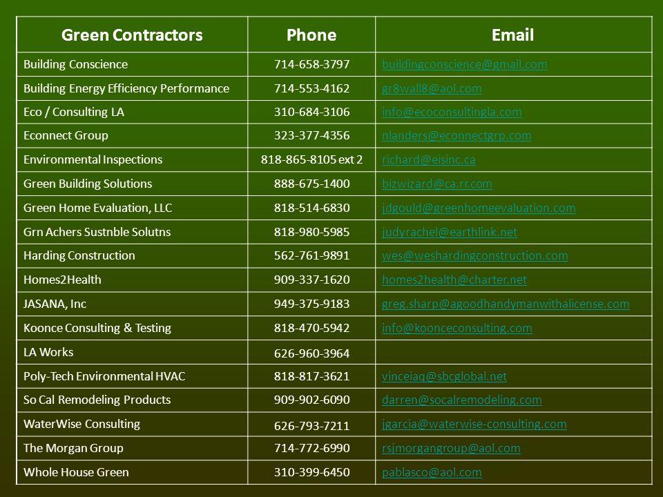Green ContractorsPhoneEmail Building Conscience714-658-3797buildingconscience@gmail.com Building Energy Efficiency Performance714-553-4162gr8wall8@aol.com Eco / Consulting LA310-684-3106info@ecoconsultingla.com Econnect Group323-377-4356nlanders@econnectgrp.com Environmental Inspections818-865-8105 ext 2richard@eisinc.ca Green Building Solutions888-675-1400bizwizard@ca.rr.com Green Home Evaluation, LLC818-514-6830jdgould@greenhomeevaluation.com Grn Achers Sustnble Solutns818-980-5985judyrachel@earthlink.net Harding Construction562-761-9891wes@weshardingconstruction.com Homes2Health909-337-1620homes2health@charter.net JASANA, Inc949-375-9183greg.sharp@agoodhandymanwithalicense.com Koonce Consulting & Testing818-470-5942info@koonceconsulting.com LA Works 626-960-3964 Poly-Tech Environmental HVAC818-817-3621vinceiaq@sbcglobal.net So Cal Remodeling Products909-902-6090darren@socalremodeling.com WaterWise Consulting 626-793-7211 jgarcia@waterwise-consulting.com The Morgan Group714-772-6990rsjmorgangroup@aol.com Whole House Green310-399-6450pablasco@aol.com