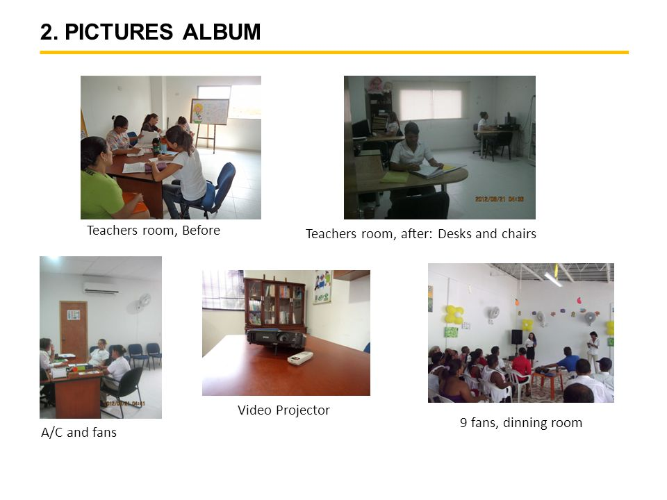 2. PICTURES ALBUM Teachers room, Before Teachers room, after: Desks and chairs A/C and fans Video Projector 9 fans, dinning room