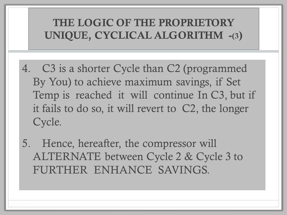 THE LOGIC OF THE PROPRIETORY UNIQUE, CYCLICAL ALGORITHM - (2) 2.
