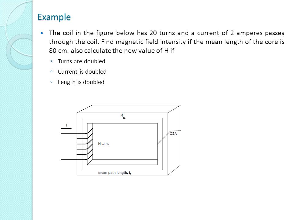 Example The coil in the figure below has 20 turns and a current of 2 amperes passes through the coil. Find magnetic field intensity if the mean length