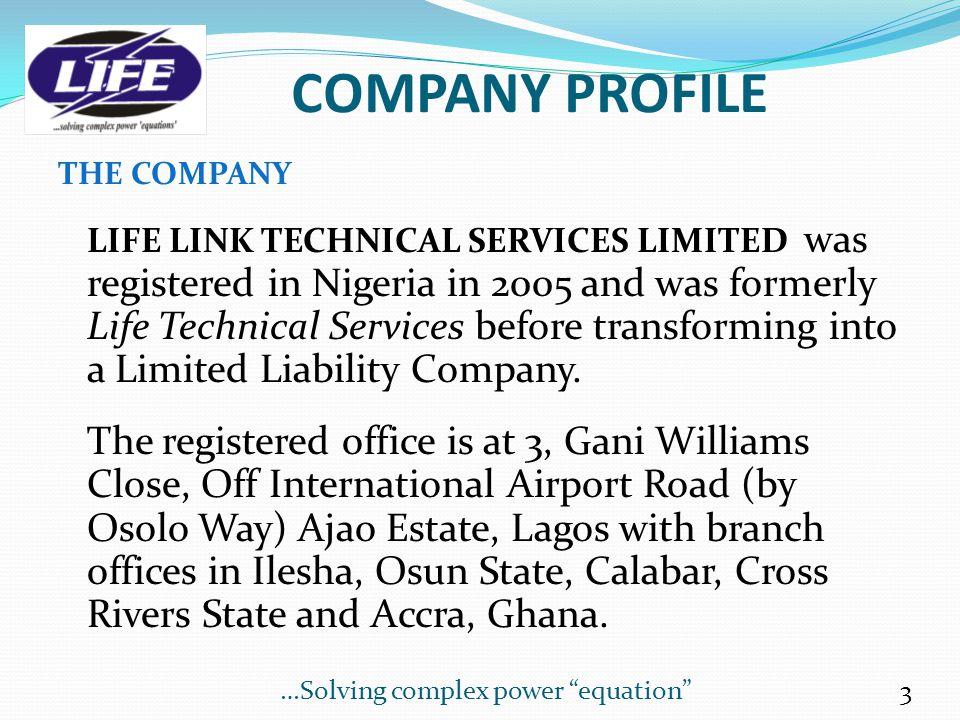 TABLE OF CONTENTS CONTENTS SLIDE/PAGE COVER PAGE1 TABLE OF CONTENTS 2 COMPANY PROFILE 3 CONTACT INFORMATION 4 SERVICES 5 - 6 THE WORKFORCE 7 ORGANOGRA