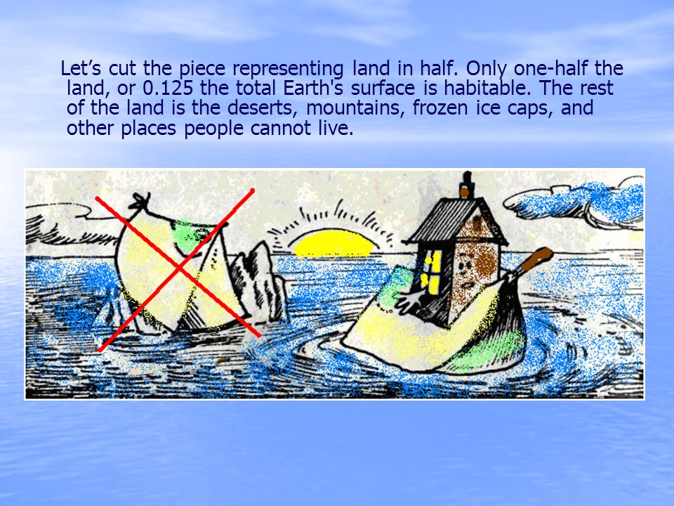 Lets cut the piece representing land in half. Only one-half the land, or 0.125 the total Earth's surface is habitable. The rest of the land is the des