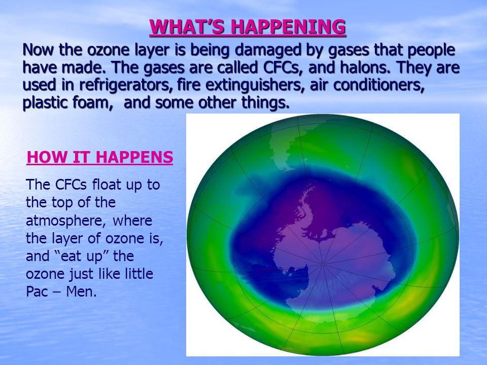 WHATS HAPPENING Now the ozone layer is being damaged by gases that people have made. The gases are called CFCs, and halons. They are used in refrigera