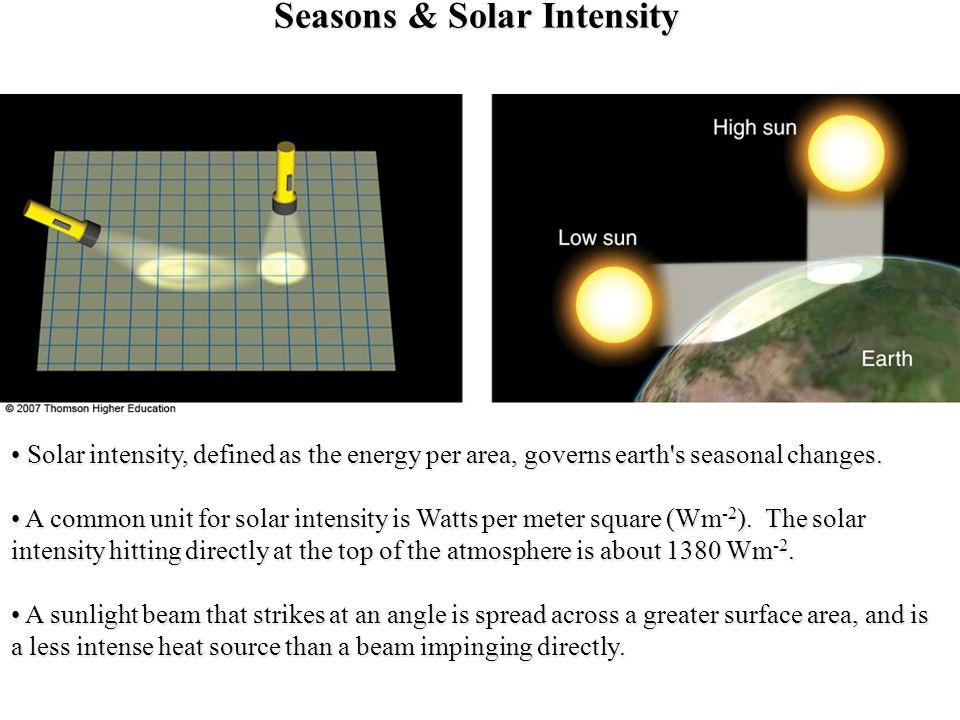 Solstice & Equinox Earth s tilt of 23.5° and revolution around the sun creates seasonal solar exposure and heating patterns.