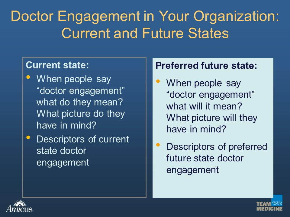 Doctor Engagement in Your Organization: Current and Future States Current state: When people say doctor engagement what do they mean? What picture do