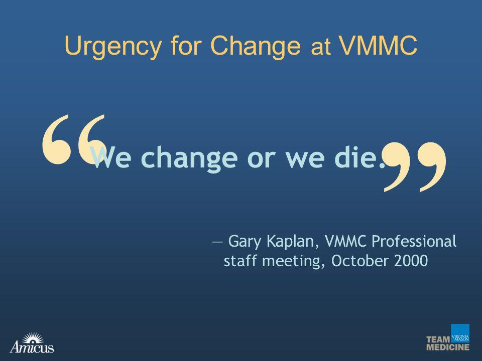 Urgency for Change at VMMC Gary Kaplan, VMMC Professional staff meeting, October 2000 We change or we die.