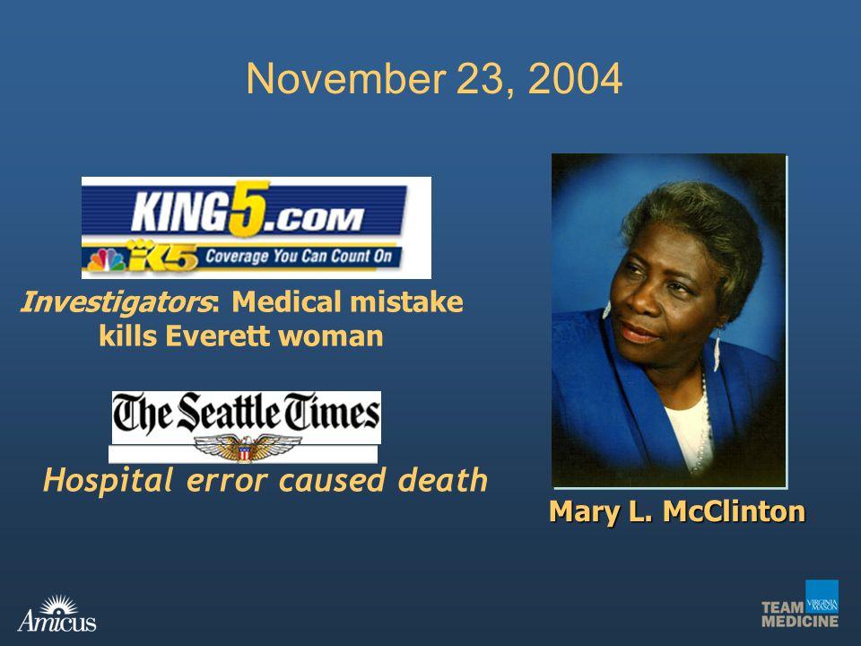 November 23, 2004 Hospital error caused death Investigators: Medical mistake kills Everett woman Mary L. McClinton
