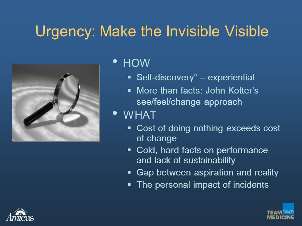 Urgency: Make the Invisible Visible HOW Self-discovery – experiential More than facts: John Kotters see/feel/change approach WHAT Cost of doing nothin