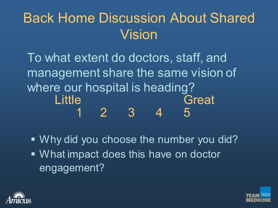 To what extent do doctors, staff, and management share the same vision of where our hospital is heading? LittleGreat 12345 Why did you choose the numb