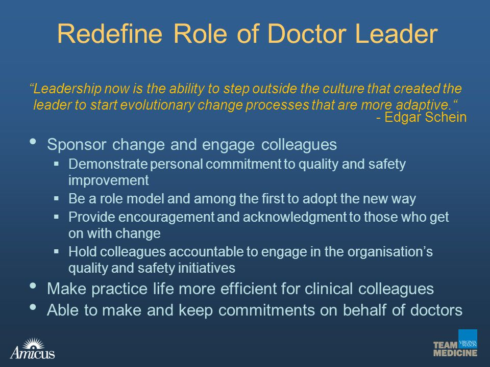 Redefine Role of Doctor Leader Sponsor change and engage colleagues Demonstrate personal commitment to quality and safety improvement Be a role model