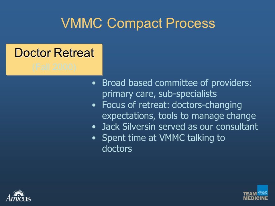 Doctor Retreat (Fall 2000) Doctor Retreat (Fall 2000) VMMC Compact Process Broad based committee of providers: primary care, sub-specialists Focus of