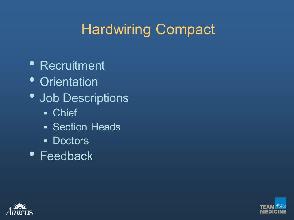 Hardwiring Compact Recruitment Orientation Job Descriptions Chief Section Heads Doctors Feedback