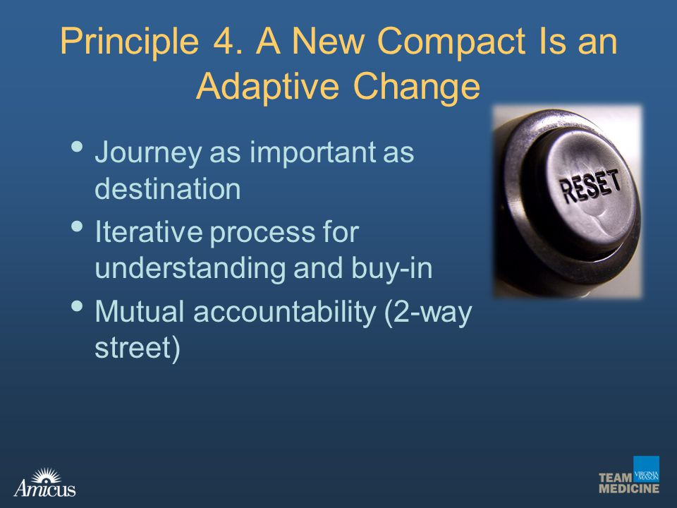 Principle 4. A New Compact Is an Adaptive Change Journey as important as destination Iterative process for understanding and buy-in Mutual accountabil