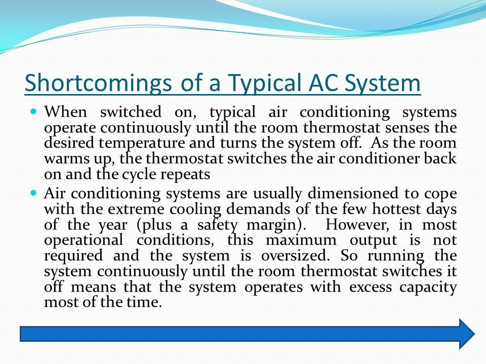 Shortcomings of a Typical AC System When switched on, typical air conditioning systems operate continuously until the room thermostat senses the desir