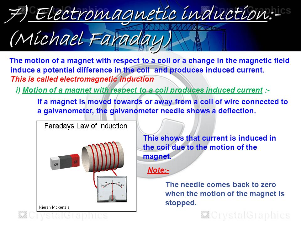 7) Electromagnetic induction:- (Michael Faraday) The motion of a magnet with respect to a coil or a change in the magnetic field induce a potential difference in the coiland produces induced current.