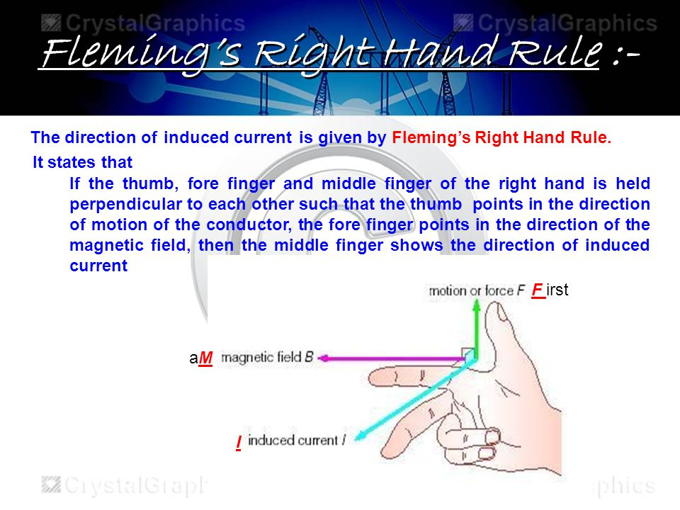 Flemings Right Hand Rule :- The direction of is given by Flemings Right Hand Rule.