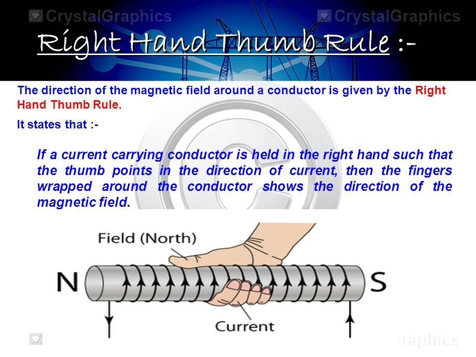 Right Hand Thumb Rule :- The direction of the magnetic field around a conductor is given by the Right Hand Thumb Rule. It states that :- If a current