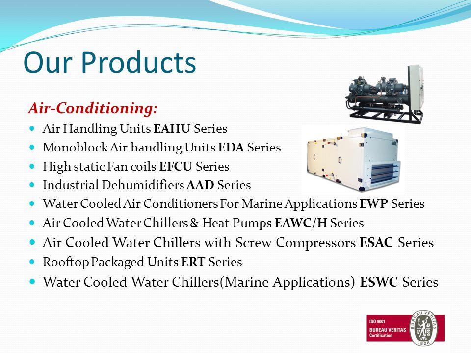 Our Products Air-Conditioning: Air Handling Units EAHU Series Monoblock Air handling Units EDA Series High static Fan coils EFCU Series Industrial Deh