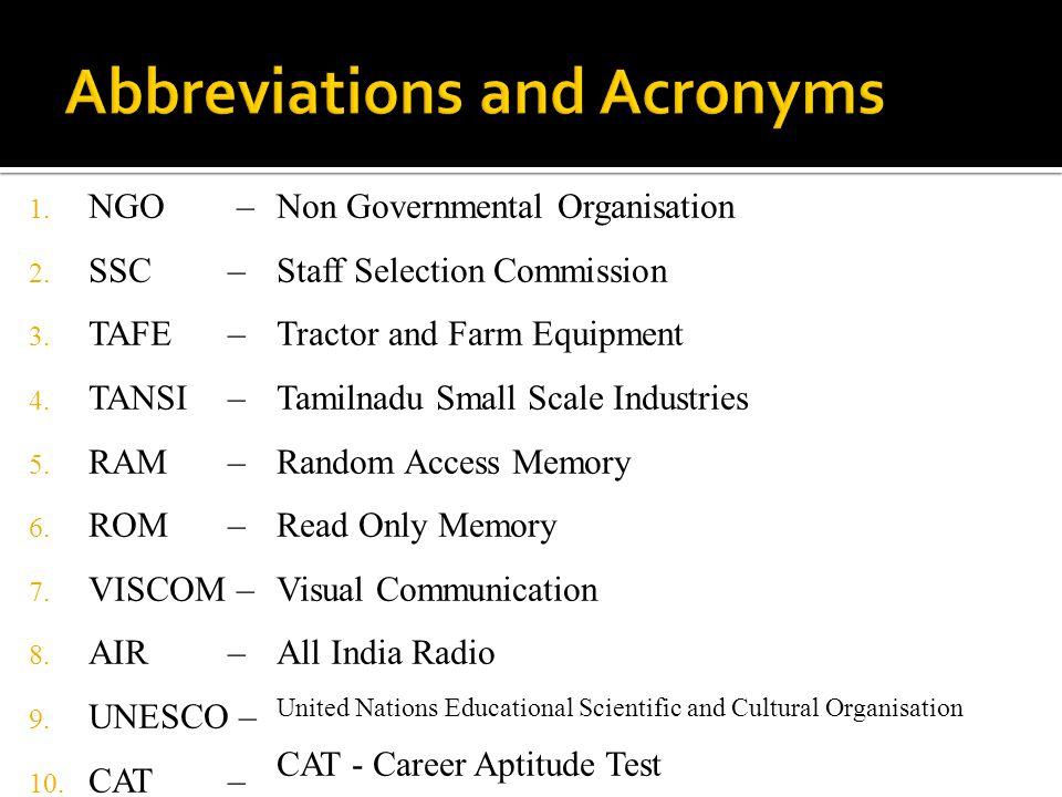 1. NGO – 2. SSC – 3. TAFE – 4. TANSI – 5. RAM – 6. ROM – 7. VISCOM – 8. AIR – 9. UNESCO – 10. CAT – Non Governmental Organisation Staff Selection Comm