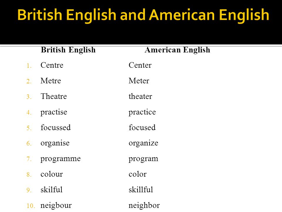 British English 1. Centre 2. Metre 3. Theatre 4. practise 5. focussed 6. organise 7. programme 8. colour 9. skilful 10. neigbour American English Cent