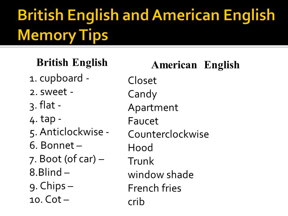 British English 1. cupboard - 2. sweet - 3. flat - 4. tap - 5. Anticlockwise - 6. Bonnet – 7. Boot (of car) – 8.Blind – 9. Chips – 10. Cot – American