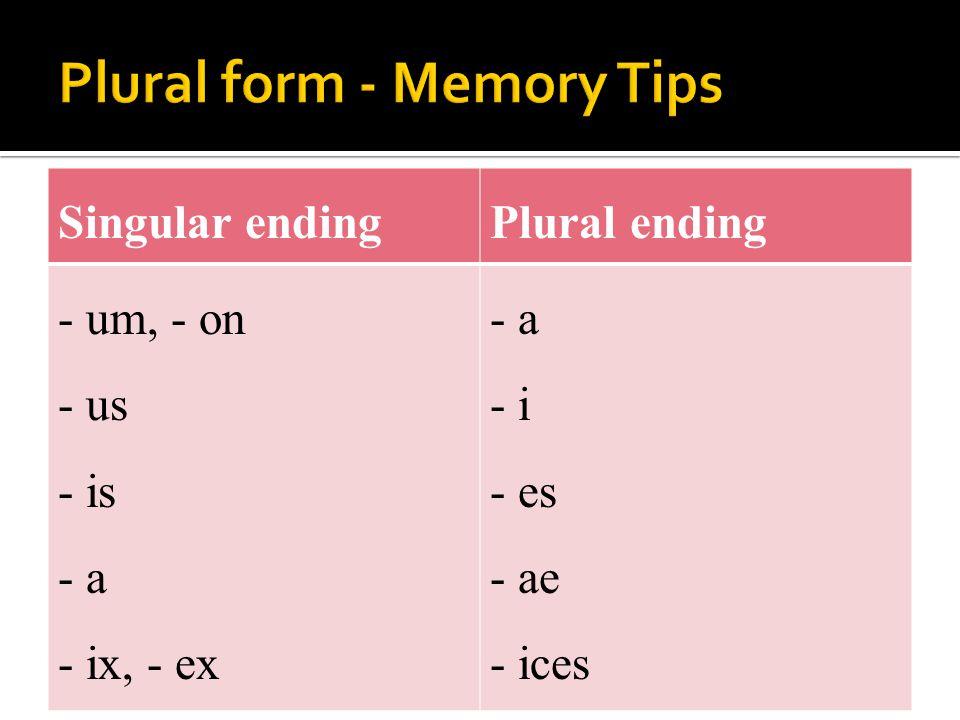Singular endingPlural ending - um, - on - us - is - a - ix, - ex - a - i - es - ae - ices