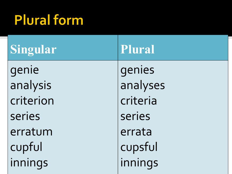 Singular genie analysis criterion series erratum cupful innings Plural genies analyses criteria series errata cupsful innings