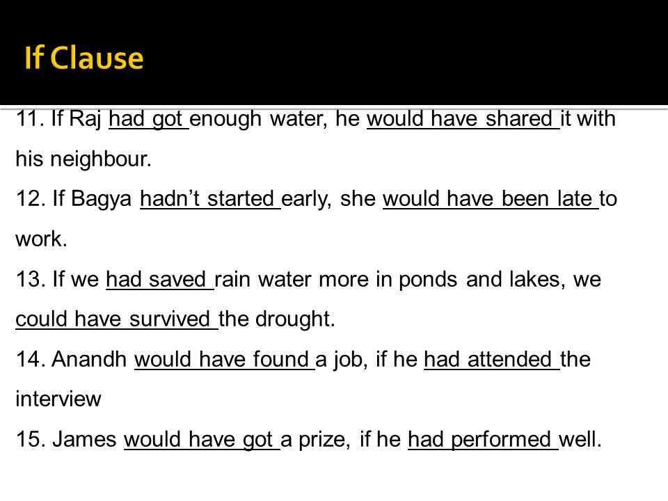 11. If Raj had got enough water, he would have shared it with his neighbour. 12. If Bagya hadnt started early, she would have been late to work. 13. I