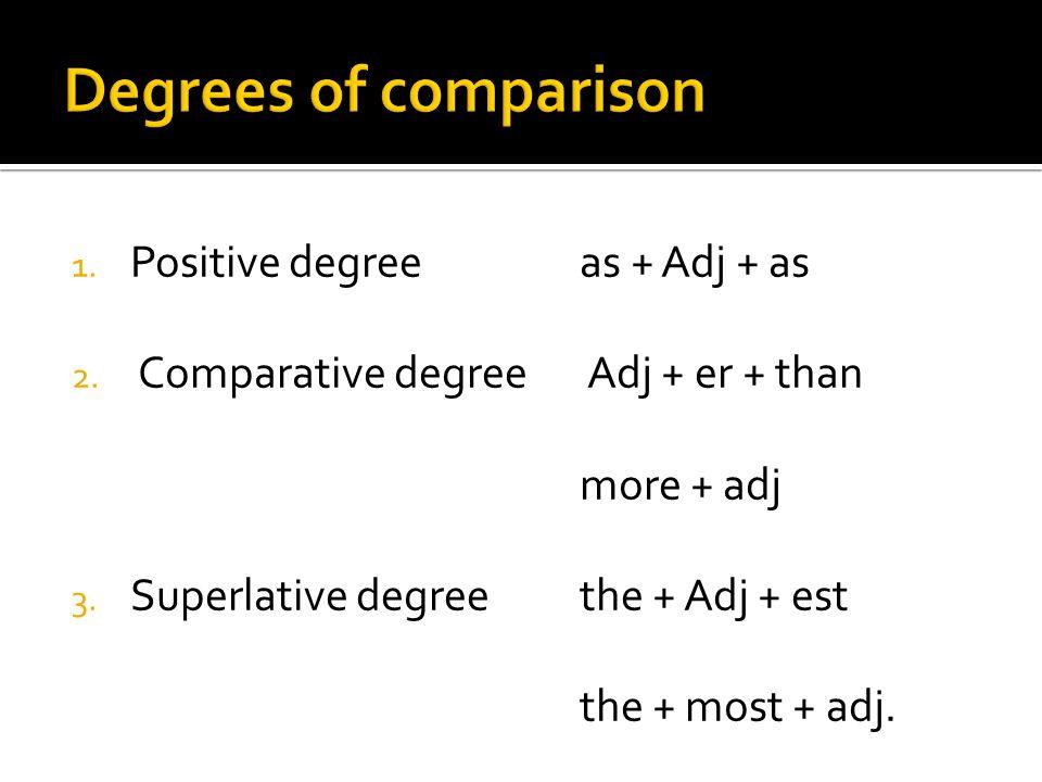 1. Positive degree as + Adj + as 2. Comparative degree Adj + er + than more + adj 3. Superlative degree the + Adj + est the + most + adj.