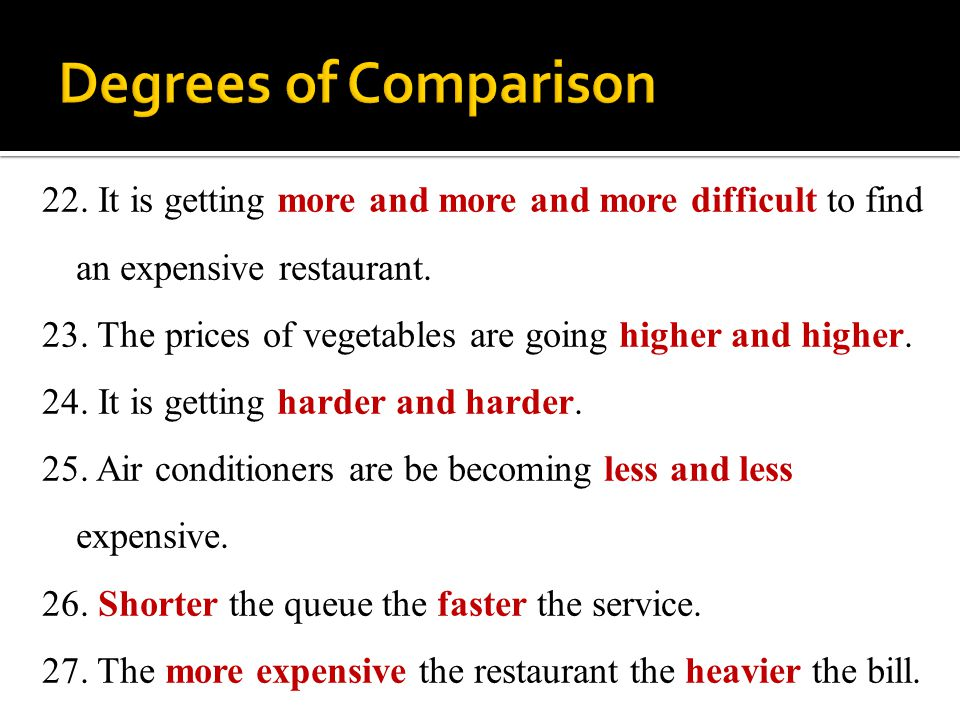 22. It is getting more and more and more difficult to find an expensive restaurant. 23. The prices of vegetables are going higher and higher. 24. It i
