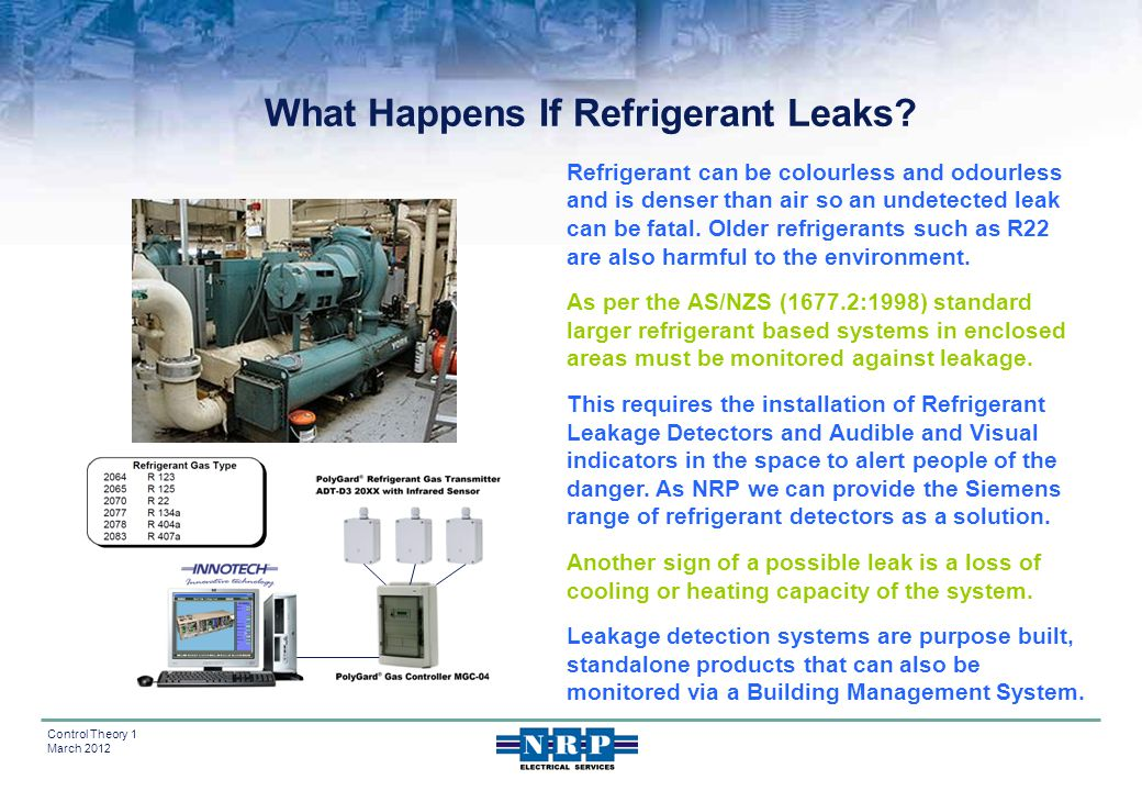 11 Control Theory 1 March 2012 Refrigerant can be colourless and odourless and is denser than air so an undetected leak can be fatal. Older refrigeran