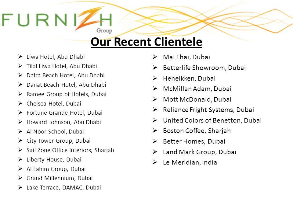 Our Recent Clientele Liwa Hotel, Abu Dhabi Tilal Liwa Hotel, Abu Dhabi Dafra Beach Hotel, Abu Dhabi Danat Beach Hotel, Abu Dhabi Ramee Group of Hotels