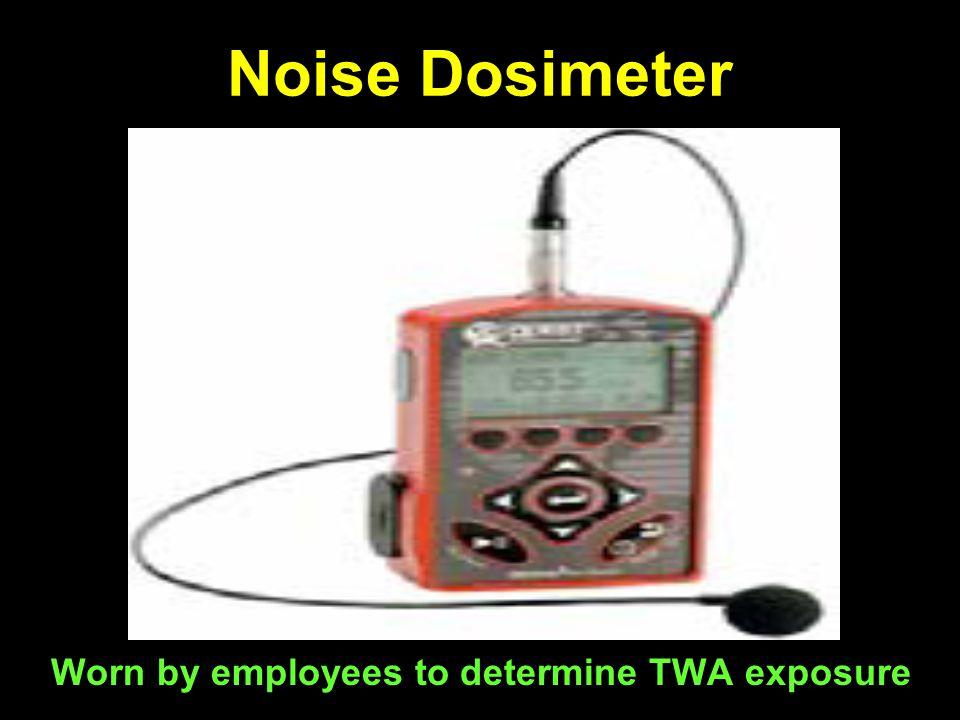 Noise Dosimeter Worn by employees to determine TWA exposure