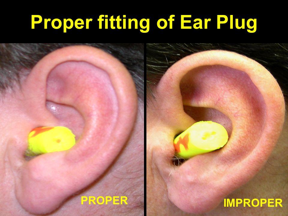 Proper fitting of Ear Plug IMPROPER PROPER