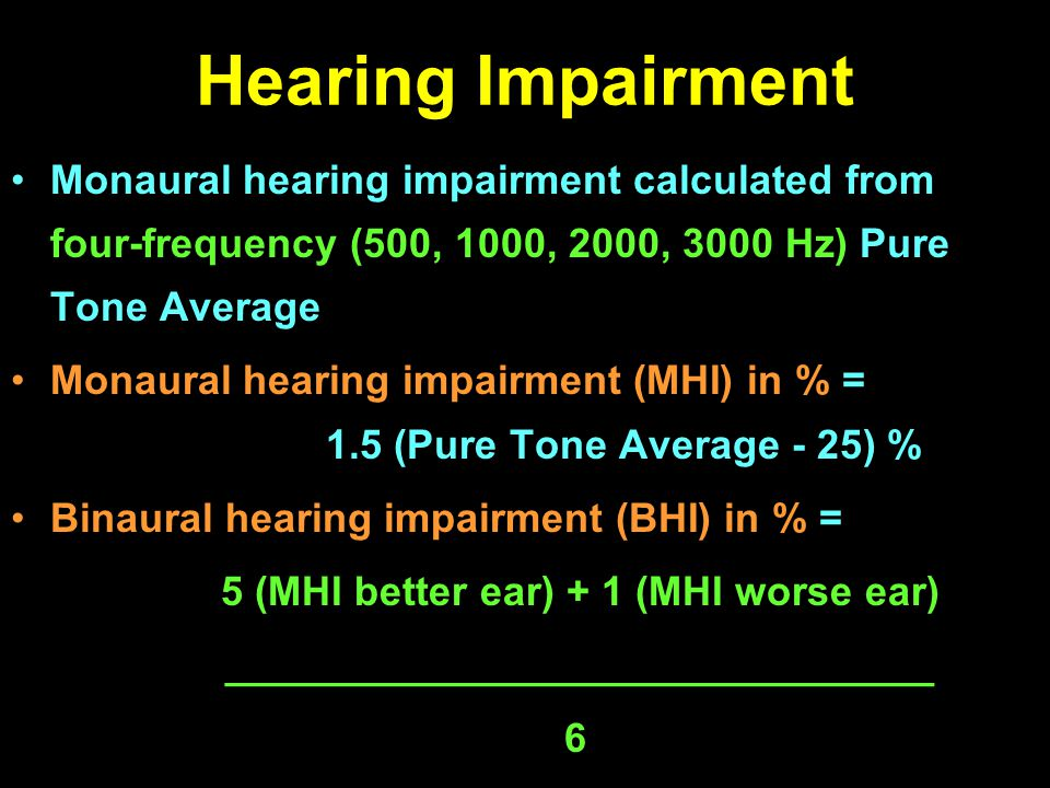 Hearing Impairment Monaural hearing impairment calculated from four-frequency (500, 1000, 2000, 3000 Hz) Pure Tone Average Monaural hearing impairment