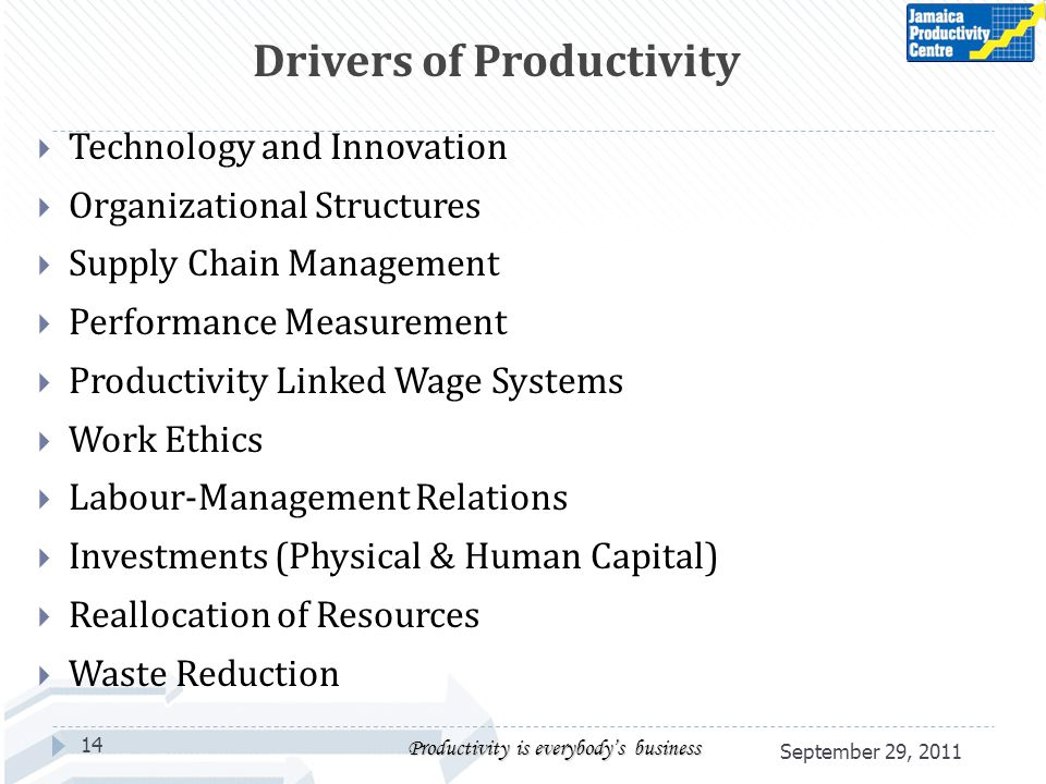 Technology and Innovation Organizational Structures Supply Chain Management Performance Measurement Productivity Linked Wage Systems Work Ethics Labou