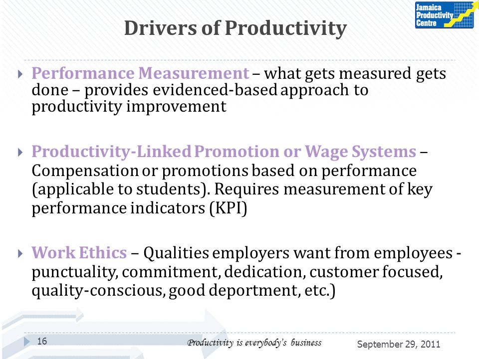 Performance Measurement – what gets measured gets done – provides evidenced-based approach to productivity improvement Productivity-Linked Promotion or Wage Systems – Compensation or promotions based on performance (applicable to students).