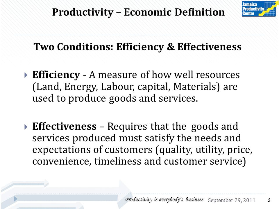 Productivity – Economic Definition Two Conditions: Efficiency & Effectiveness Efficiency - A measure of how well resources (Land, Energy, Labour, capi
