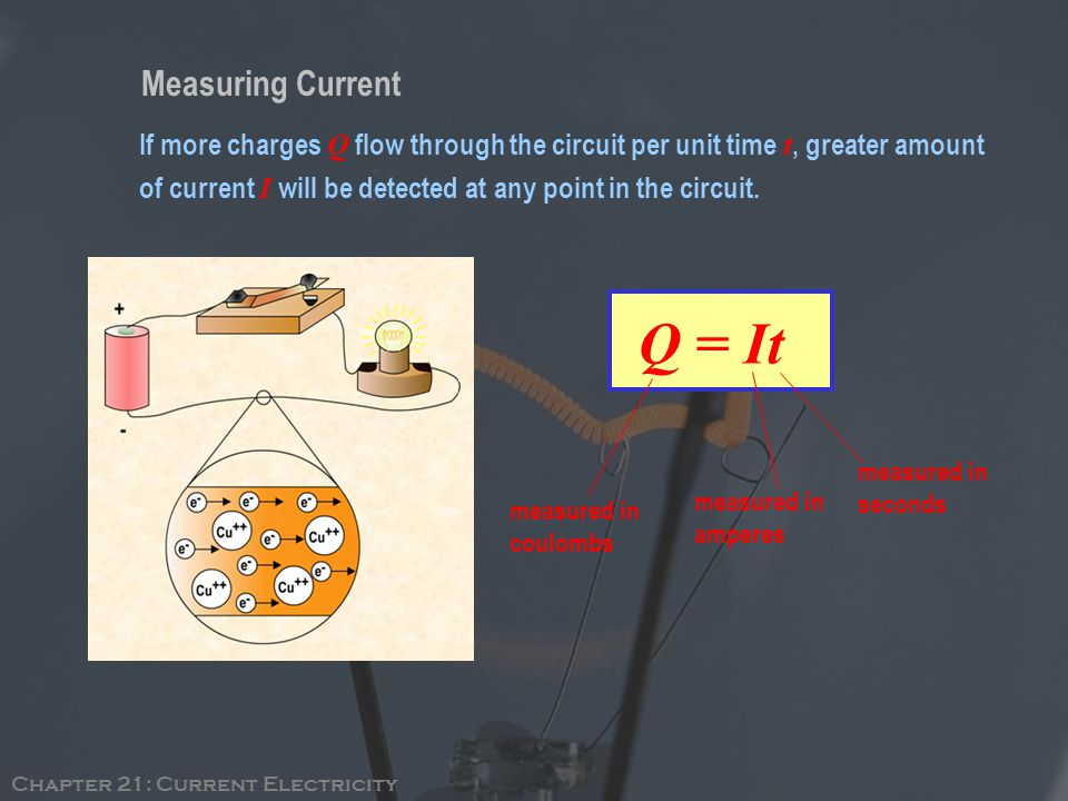Measuring Current Q = It If more charges Q flow through the circuit per unit time t, greater amount of current I will be detected at any point in the circuit.
