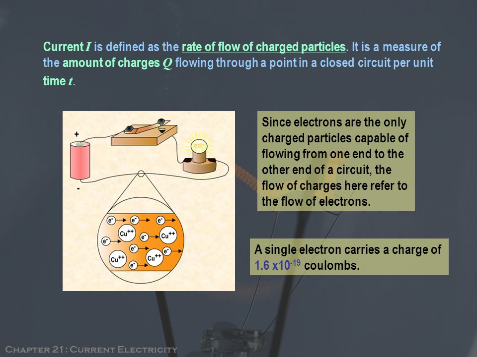 Current I is defined as the rate of flow of charged particles.
